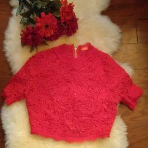 Banjul Red crochet lace crop top